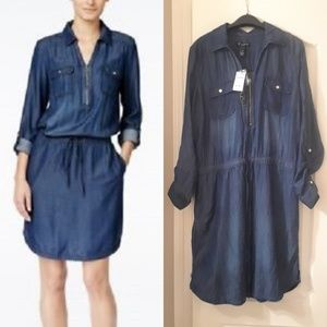INC denim shirt dress w/draw string